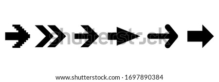 Set black arrows icons isolated on the white background