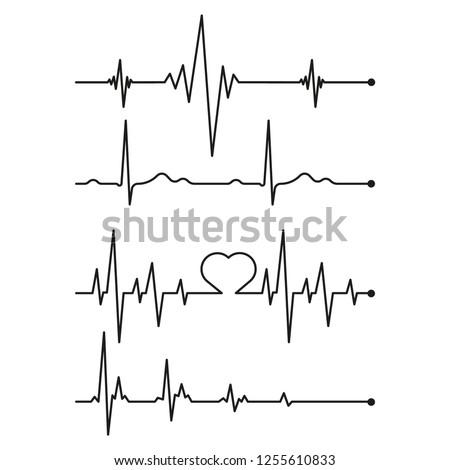 Set black cardiogram lines isolated on white background.