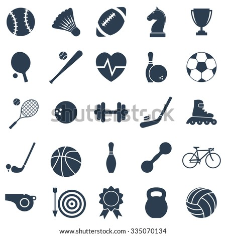 Set black icons sports. Vector illustration