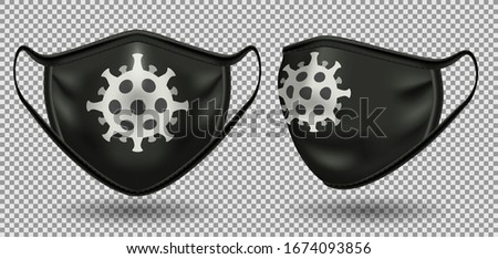 Set black medical mask with a symbol of coronavirus. Front view. To protect against infection and polluted air. 3D realistic illustration. Isolated on transparent background, vector.