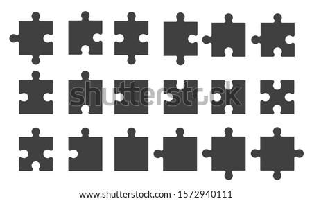 Set black puzzle pieces isolated Zdjęcia stock ©