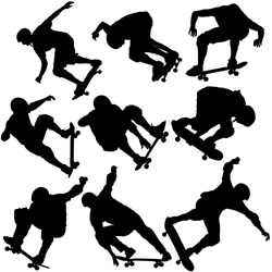 Set black silhouette of an athlete skateboarder in a jump