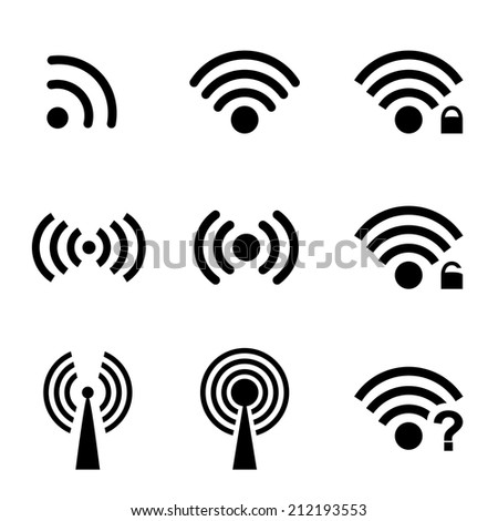 Set black vector wireless and wifi icons for remote access and communication via radio waves