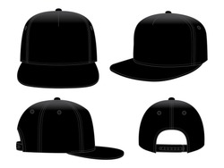 Set Blank Black Hip Hop Cap With Snap Back Strap Vector For Template.