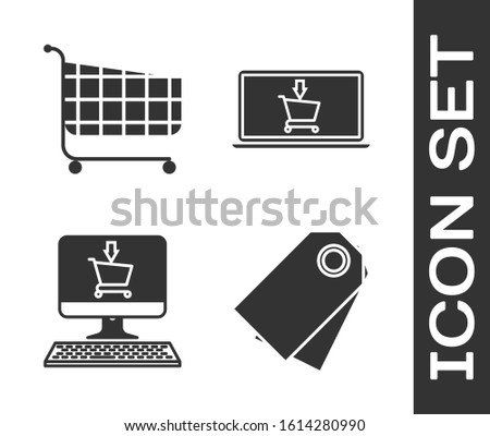 Set Blank label template price tag, Shopping cart, Shopping cart on screen computer and Shopping cart on screen laptop icon. Vector