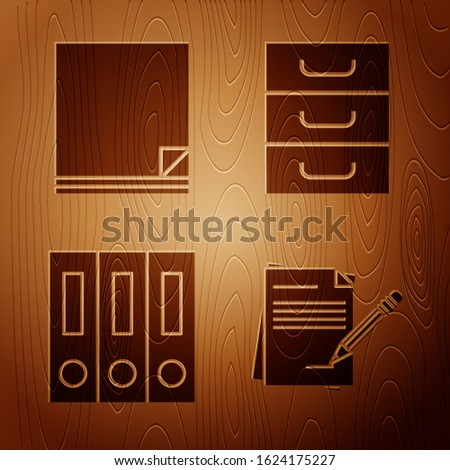 Set Blank notebook and pencil with eraser, File document, Office folders with papers and documents and Drawer with documents on wooden background. Vector