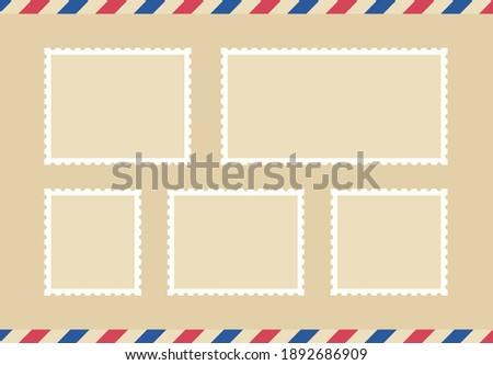 Set blank postage stamp.Toothed border mailing postal sticker template. Vector graphic desig. Foto stock ©