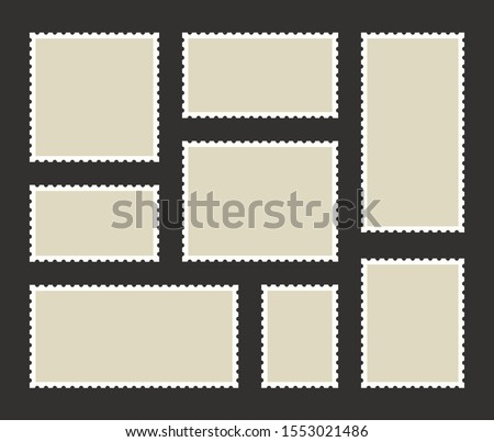 Set blank postage stamp.Toothed border mailing postal sticker template. Vector graphic design. Foto stock ©