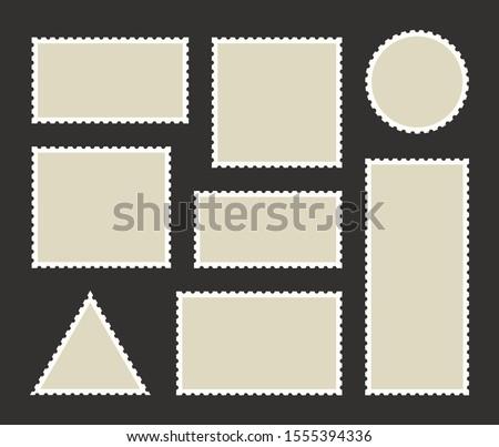 Set blank postage stamp.Toothed border mailing postal sticker template. Vector graphic design.