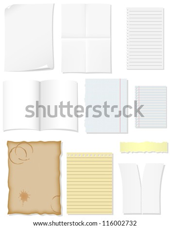 set blank sheets paper for design vector illustration isolated on white background