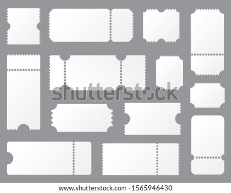 Set blank ticket template. Concert ticket, lottery coupons. Vector coupon - stock vector.