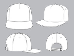 Set Blank White 5 Panels Hip Hop Cap With Snap Back Strap Vector For Template.