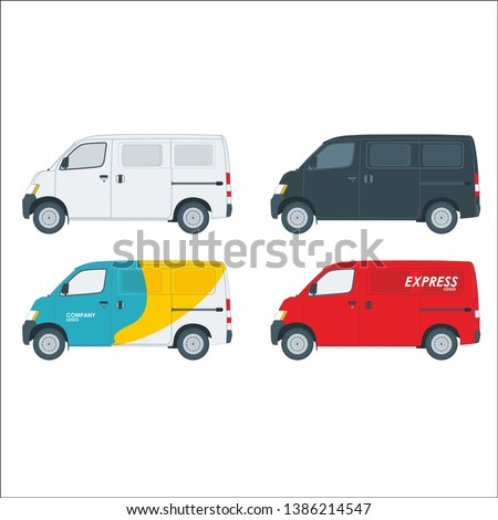 Set Blind van vector colorful plain and express van branding