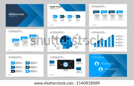 set blue creative presentation template design template