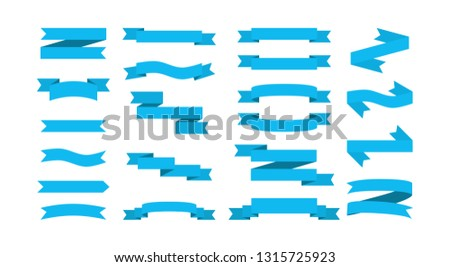 Set blue ribbons banners flat Isolated on white background. vector illustration.