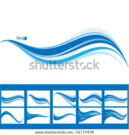 set 11 blue wave abstract