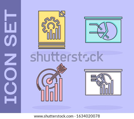 Set Board with graph chart, Document with graph chart, Target with graph chart and Board with graph chart icon. Vector