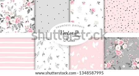 set botanic and abstract seamless pattern with flowers and leaves, hand drawn background. collection floral pattern. Tile with Flower rose.