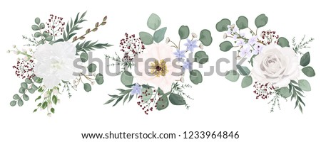 Set bouquets with leaves and flowers, watercolor, isolated on white. Vector Watercolour. #1233964846