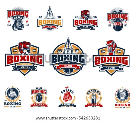 set boxing badges  stickers