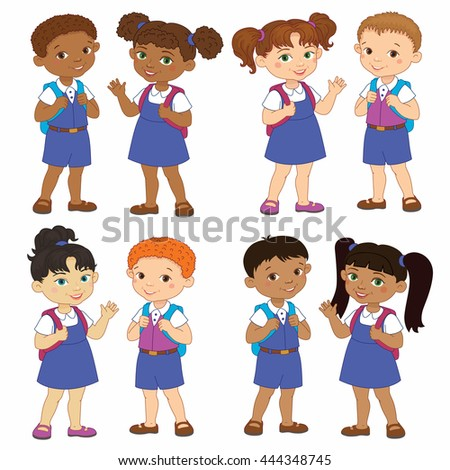 Set boy and girl with backpacks african pupil stay cartoon school india, europen isolated vector