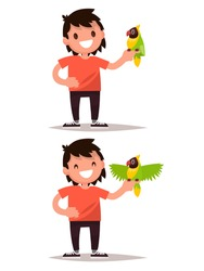 Set boy and parrot. Vector illustration of a flat design
