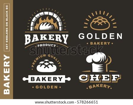 Set bread logo - vector illustration. Bakery emblem design on black background
