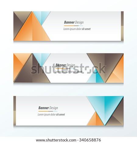 Set Bright modern abstract banner design, Brown, orange, blue color #340658876