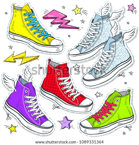 set bright shoes sneakers