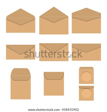 Set brown paper envelopes of different form and sizes, open and closed,  for CD, isolated on white background, vector illustration.