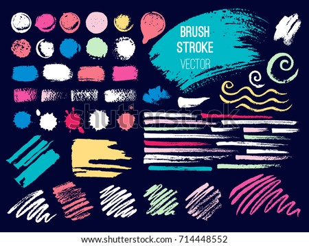 Set brush stroke. Brush, pen, marker, chalk. Vector distressed grunge modern textured brush stroke. Dry brush. Hand drawn vector. #714448552