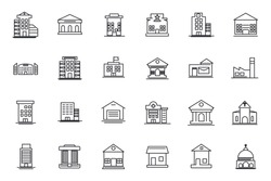 set Building icon template for graphic and web design collection. Government buildings pack symbol logo vector illustration