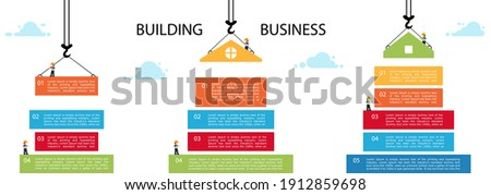 Set building infographic. tower crane and building color block. Infographic template building business. Vector Illustration in modern flat style.  Stock photo ©
