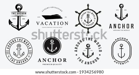 Set Bundle of Anchor Ship Yacht Luxury Badge Vector Logo, Illustration Vintage Design of Water Transportation Concept