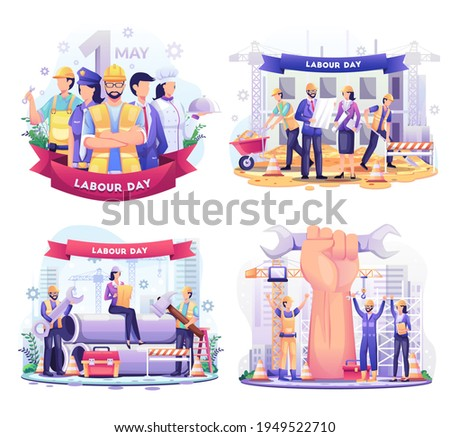 Set bundle of Labour Day. A Group Of People Of Different Professions. Businessman, Chef, Policewoman, construction workers. vector illustration