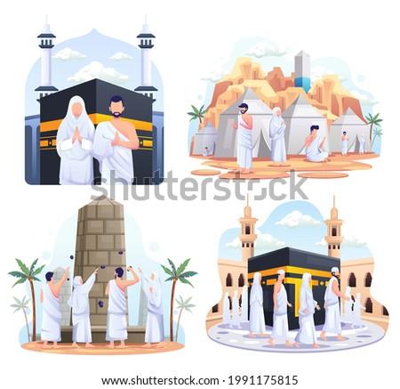 Set bundle of Muslim couple is doing Islamic hajj pilgrimage. Flat vector illustration