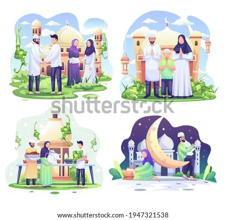 Set bundle of Ramadhan concept illustration. Happy Muslim people celebrate Holy Month Ramadhan, Eid Mubarak greeting. vector illustration
