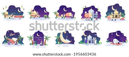 Set bundle of Ramadhan Kareem concept illustration. Happy Muslim people celebrate Holy Month Ramadhan, Eid Mubarak greeting. Flat vector template Style for Web Landing Page, Background.