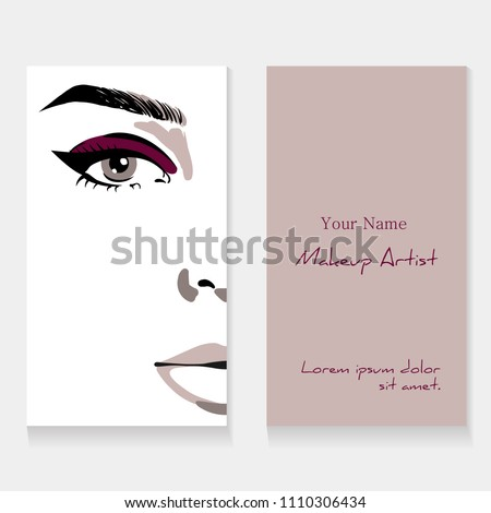 Set business card template for makeup artist. Beautiful woman portrait with eyeliner make up fashion illustration. Beauty makeup artist business card concept. Hand drawn graphic in watercolor style