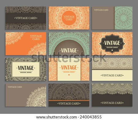 Set business card. Vintage decorative elements. Hand drawn background. Islam, Arabic, Indian, ottoman motifs.