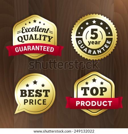 set business gold label on wood