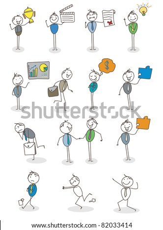 set businessman activity vector