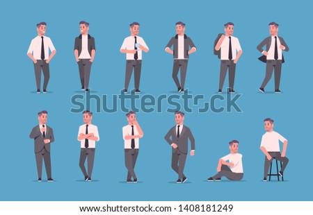 set businessmen in formal wear standing different poses smiling male cartoon characters business men office workers posing collection flat full length horizontal