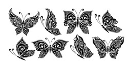 Set butterflies decorative tattoo. Black Butterfly from patterns. Vector illustration