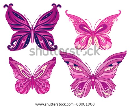Set butterflies isolated on  white background