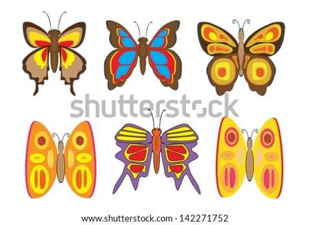 Set butterflies on white