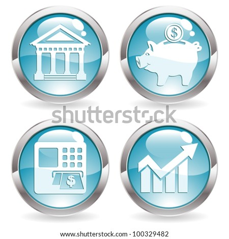 Set Buttons with Financial Business Icon - Bank, ATM, Piggy Bank and Graph Symbol, vector illustration