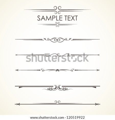 Set Calligraphic Design Elements, vector set: calligraphic design elements and page decoration - lots of useful elements