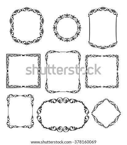 Set calligraphic frames .Vintage vector.Well built for easy editing.