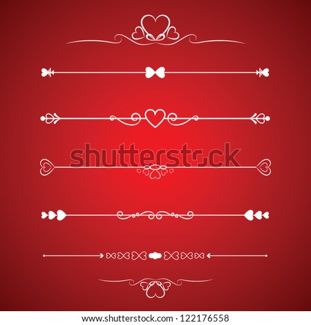 Set Calligraphic Valentine's Day Design Elements